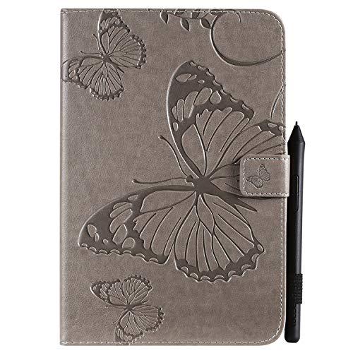 Ostop Funda para iPad Mini 1, 2, 3, 4 y 5, con soporte para bolígrafo, función de apagado y encendido automático, piel sintética, diseño de mariposas, color gris