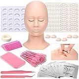 Lash Mannequin Head Kit, Eyelash Extension Supplies with Practice Training Head 4 Pairs Replaced Eyelids, Disposable Eyelash Mascara Brush Wand, Micro Applicators Brush for Lash Training Makeup