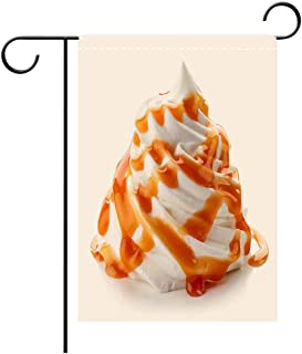 BEICICI Custom Personalized Garden Flag Outdoor Flag Whipped Cream with Caramel Sauce on White Background Decorative Deck, Patio, Porch, Balcony Backyard, Garden or Lawn
