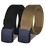 WYuZe 2 Pack Nylon Belts for Men, Outdoor Military Web Belt 1.5' Tactical Webbing Belt with Plastic Buckle (black + brown)