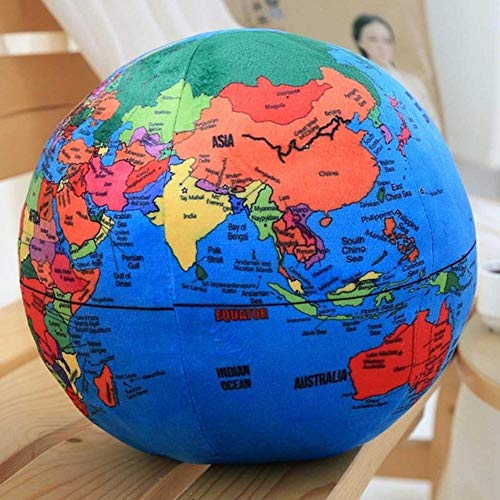 Globus Plüschtier trainieren Plüschkugel weiche Puppe Plüsch Englisch Erdkugel Kissen Spielzeug für Kinder gestopft und Spielzeug Lernen,Diameter 24cm