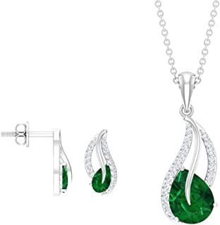Pear Shaped 2.31 CT Emerald Jewelry Sets, Teardrop Green Stone Necklace and Earrings, Diamond Pendant Earrings, May Births...