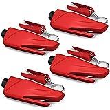 Xyyy Martillo de Seguridad para Coche, 2 en 1 Llavero Portátil Ventanas de Coche Cristales Cortador de Cinturón de Seguridad, para Romper la Ventanilla del Coche Herramienta de Escape (4 Pcs) (Rojo)