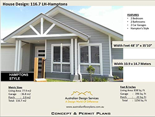 New Home Floor Plans - Small 2 Bedroom Hamptons: Full Architectural Concept Home Plans includes detailed floor plan and elevation plans (2 Bedroom House Plans Book 1167) (English Edition)