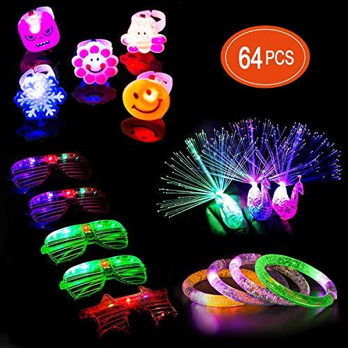 Ucradle 64 Stück LED Leuchtspielzeug Party Zubehör Mitgebsel für Kinder Kindergeburtstag Gastgeschenke - 50 LED Blinkender Fingerringe, 5 LED Brille, 3 LED Armbänder und 6 LED Pfau