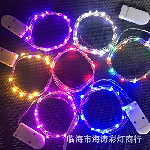 Les lantaarn lichtsnoer, waterdicht, led-snoer fee, voor buiten, verlichte kabel, batterij, knop, waterdicht, decoratief, voor buiten, batterij, koperdraad, rood, 1 meter, 10 lampen