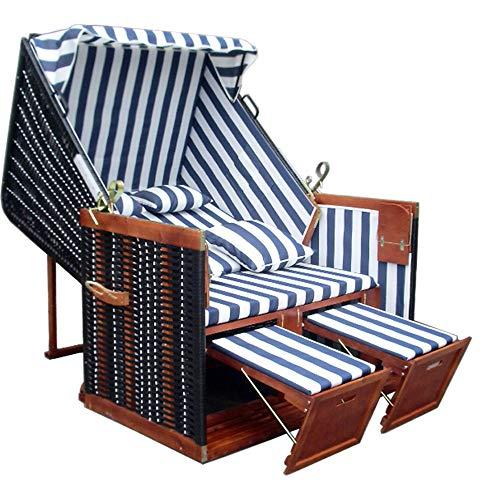 Strandkorb XL inkl. winterfester Strandkorbhülle u. 4X Kissen - blau-gestreifter Stoff - schwarzes Polyrattan - Strandkorb Nordsee