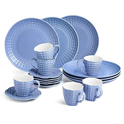 Sunting Kaffeeservice für 6 Personen. 18 tlg Porzellan Kaffeeservice Blau. Vintage Stil Geprägt Kaffeetassen Set mit Untertassen und Kuchenteller Rund. Neues Bone China Geschirrset Kaffeegeschirr Set
