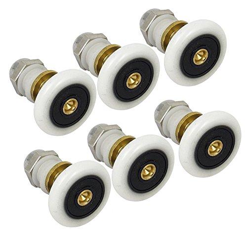 6pcs 25mm Polea rodamientos, wcic cobre excéntrico rueda puerta de cristal ducha ruedas rodillos corredores para baño ducha puerta Sauna de vapor cabinas, 6-Pack 27mm