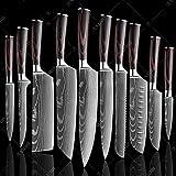 8' Pulgadas Cuchillos de Cocina Cuchillo de Damasco patrón de Cocinero Herramienta Afilada Cuchilla de rebanar Cuchillos 10 PCS Value Set
