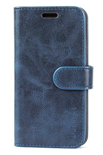 Mulbess Handyhülle für Samsung Galaxy J3 2016 Hülle Leder, Samsung Galaxy J3 2016 Handy Hüllen, Vintage Flip Handytasche Schutzhülle für Samsung Galaxy J3 2016 / J3 Duos 2016 Case, Navy Blau