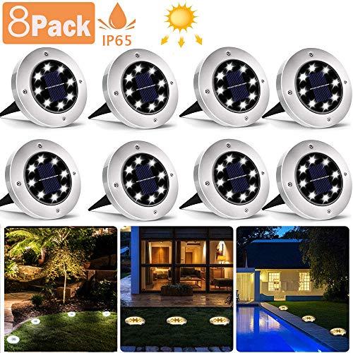 8 Pack Solar Bodenleuchten, 8 LEDS Solarleuchten Solarlampen Gartenleuchten für Außen, 3000K Kaltweiß Solarlicht Garten Licht, IP65 Wasserdicht für Rasen, Patio, Hof [Energieklasse A+]