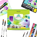 Pagos Watercolor Paint Set - Artist Quality 36 Pans Water Color Paint Kit | Watercolored Art Set with Brushes, Refillable BrushPen, 12 Sheets Paper Pad, Sketching Pencil | Full Set (Complete Set)