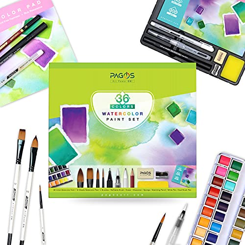 Pagos Watercolor Paint Set - Artist Quality 36 Pans Water Color Paint Kit   Watercolored Art Set with Brushes, Refillable BrushPen, 12 Sheets Paper Pad, Sketching Pencil   Full Set (Complete Set)