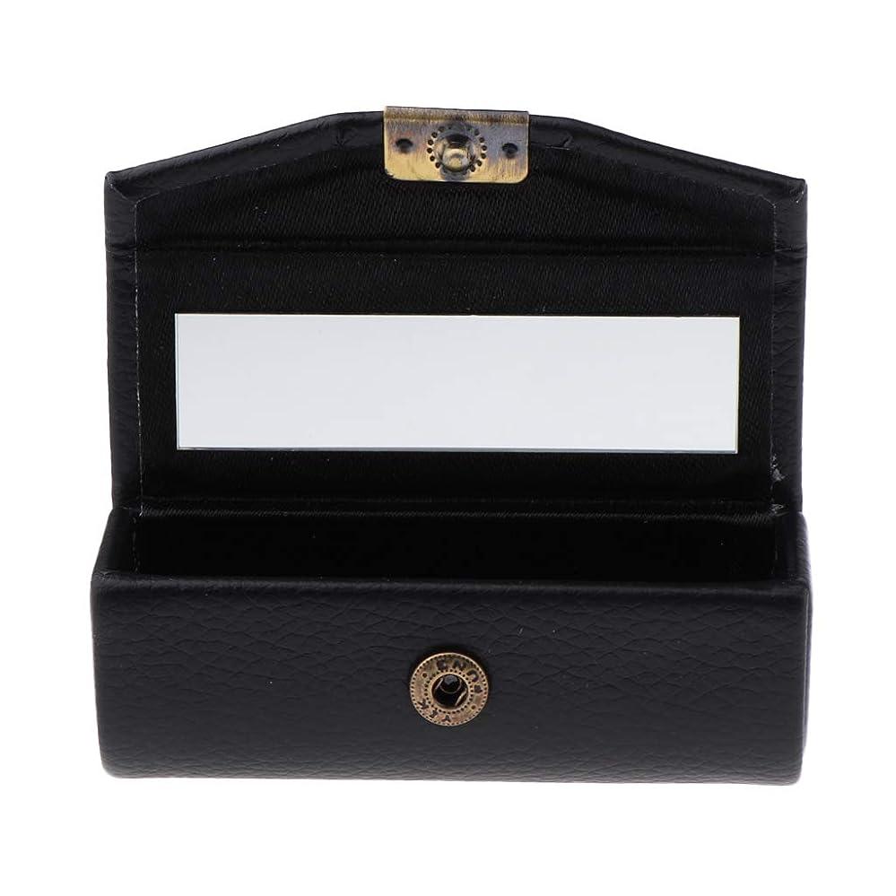 ラベルうっかり瞑想口紅ケース リップスティックケース 収納ホルダー メイクアップミラー 化粧鏡 多仕様選べ - ブラック