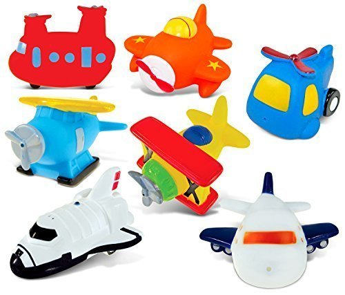 Puzzled Rubber Squirter Bath Floaters Aircraft Bathtub Toys Helicopter Airplane Sea...