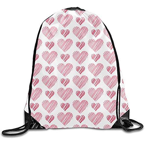 Sanme Romantische Herzen drucken Schulter Kordelzug Taschen Basic Kordelzug Einkaufssack Werbe Rucksack Tasche