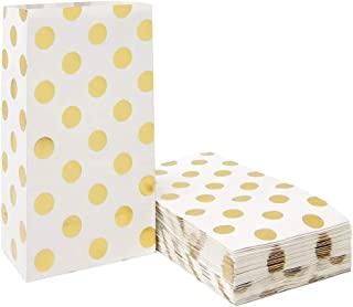 Gold Polka Dot Paper Bags Small Paper Party Treat Bags for Party Favors Supplies by ADIDO EVA (50 PCS 5.1 x 3.1 x 9.4 in)