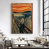 Edvard Munch El Grito Famoso Lienzos Reproducciones De Las Pinturas Resumen Grito De Pared Clásicos Posters Cuadros Decoración Del Hogar No Frame (Size : 60x90cm no frame)