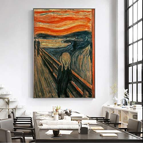 Edvard Munch El Grito Famoso Lienzos Reproducciones De Las Pinturas Resumen Grito De Pared Clásicos Posters Cuadros Decoración Del Hogar No Frame (Size : 30x40cm no frame)