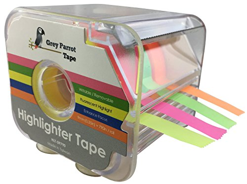 GreyParrot Tape Fluorescent Neon Highlighter Tape Removable, (4 Colors Pack), 0.35in(9mm) x 790in Per Roll, Office/Craft Tape/Yellow, Orange, Green, Pink (1)
