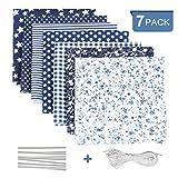 Tela algodon para coser 7 PCS, DIY Floral Telas Patchwork Material...