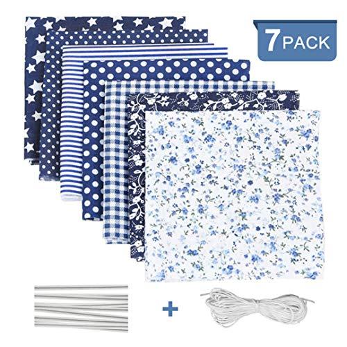 Stoffe zum Nähen Baumwolle 7Stk, Baumwollstoff Patchwork Paket mit Elastische Seil/Nasenbügel, Stoff Meterware Blau für Scrapbooking Selber Quilten Nähen