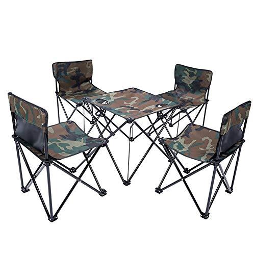JJJJD Table Pliante extérieure et Ensemble de Chaise Chaise de pêche Tabouret de Voyage Portable en Plein air Table et Chaise siège de Loisirs (Cinq Ensembles) (Couleur : Camouflage)