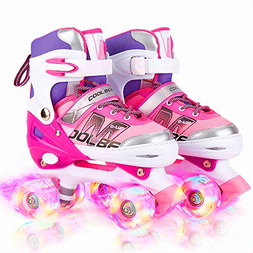 Image of Otw-Cool Adjustable Roller Skates for Girls and Women, All 8 Wheels of Girl's Skates Shine, Safe and Fun Illuminating for Kids