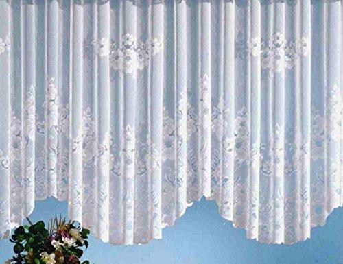 Fashion&Joy - Gardine Blumenstore aus edlem Jacquard in weiß als Bogenstore HxB 125x900 cm mit Kräuselband Vorhang Typ1