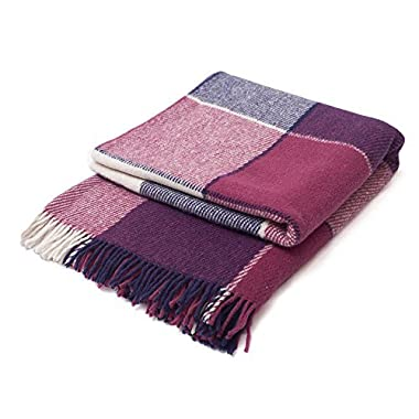 """Luxury Wool Blanket 55""""x79"""" by CG Home – Super Warm and Soft Blanket for Cozy Fall and Winter Days – Purple Tartan Plaid Throw Blanket Accents Any Home Décor (Twin)"""