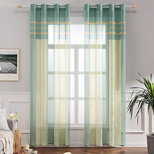 MIULEE Voile Vorhang Transparente Gardine aus Voile mit Ösen Schlaufenschal Ösenschals Transparent Fensterschal Wohnzimmer Schlafzimmer 2er Set 140x225 cm Grün + Gelb
