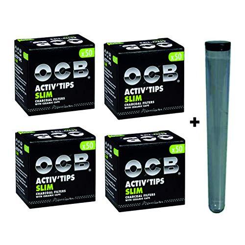kogu Set OCB Activ Tips Slim Aktivkohlefilter 7 mm, mit Keramikkappe, 200 Stück inklusive Hülle