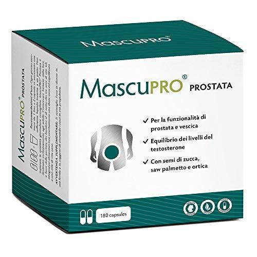 Prostata Integratori   MascuPRO Prostata e vescica - 180 capsule - vegan - con zucca, saw palmetto, ortica ecc.