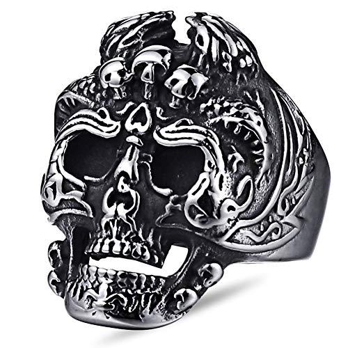 Dixinla Gothic Skull Ring Stainless Steel Black Skeleton, Carving Three Little Skulls Two Toad Mens Biker Punk Magic Cult Band, Christmas Anniversary, 9