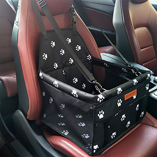 SWIHELP Dog Car Booster Seat Cover Travel Carrier Cage with Seat Belt Oxford Breathable Folding Soft Washable Travel Puppy Bags Small Dogs Cats [ Paw Pattern ]