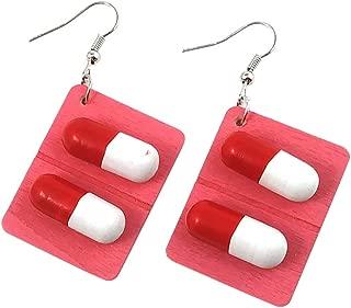 Geetobby Women Hook Earrings Pills Capsule Pendant Jewelry for Women Girls Valentine Birthday Party