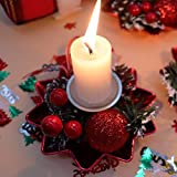 Bibivisa 3X Weihnachten Kerzenhalter, Bereift Tannenzapfen Kerzenständer Dekorativ Rote Beeren Glitzer Ball, Christmas Kerzenlicht Weihnachtskerze Stehen für Weihnachten Tischdeko Advent Deko - 3