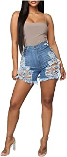 Comaba Womens High Waisted Denim Jeans Tassel Ripped Shorts