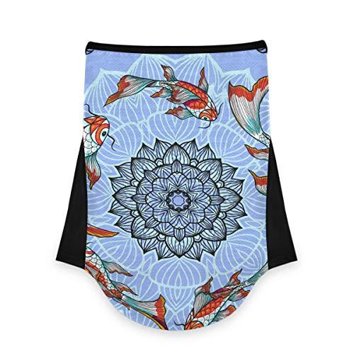 JONINOT Pañuelo para la Cara Cubierta de la Carpa Japonesa Lotus para el Cuello con Lazos para Las Orejas Pañuelo de Seda de Hielo Cubierta para el Sol UV para Mujeres y Hombres