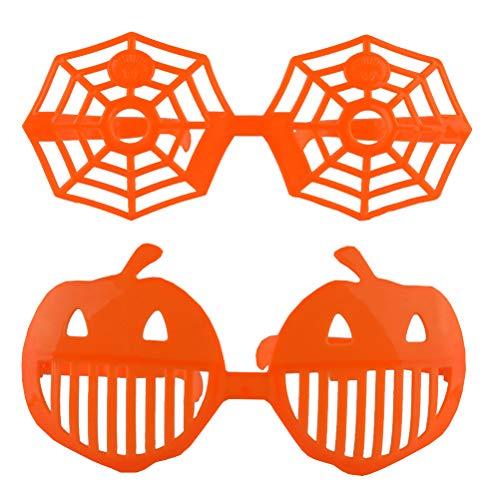 Amos Fun Fiesta de Halloween Gafas Divertidas Gafas de Calabaza Gafas de Tela de araña Cosplay Masquerade Vestir Gafas Fiesta Gafas Accesorios Foto apoyos 2PCS