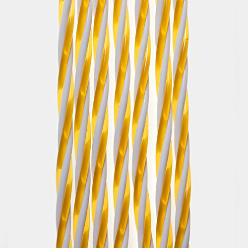 defacto® Türvorhang Fadenvorhang Gold/Weiß 100x200cm PVC Vorhange Fliegenschutz 100% Made in Italia PVC Streifen Madrid