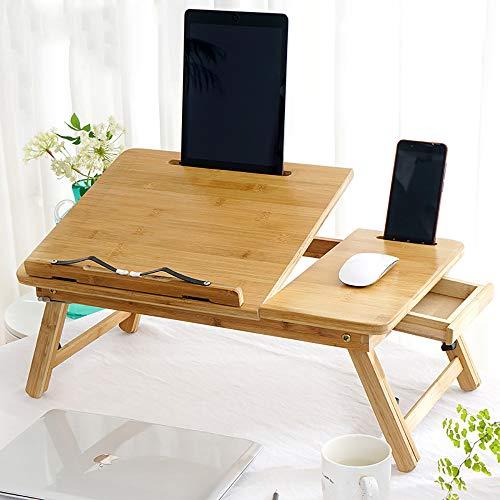 QJJML Multifunktions-Computertisch, Klappbarer Studententisch, HöHenverstellbar, Blumendesign, Bettspieltisch Mit Schublade