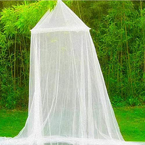 Pudincoco Verano al Aire Libre Redondo de Encaje Cama Insecto Canopy Netting Cortina de poliéster Tejido de Tela Textil para el hogar Elegante Hung Dome Mosquito Net (Blanco)