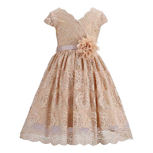 Bow Dream Lace Flower Girl Dress Country Daily Casual Party Champagne 6