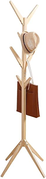 C Easy Simple Creative Tree Shape Solid Wood Coat Rack Stand Floor Fashion Living Room Bedroom Clothes Hanger Rack 46x46x175cm Tree Shaped Wood Color