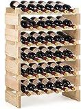 GOPLUS Casier à Bouteilles pour 36 Bouteilles, Range Bouteille Vin avec 6 Étagères, Porte Bouteille en Pin Massif, Grand Espace Superposable, pour Bars, sous-sols, 63 x 28 x 85CM Nature