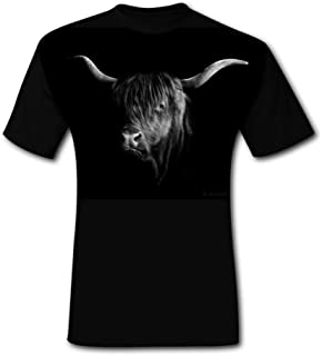 Black and White Highland Cow Portrait T-Shirt Tee Tops Short Sleeve Cool Black for Men Shirts for Dad