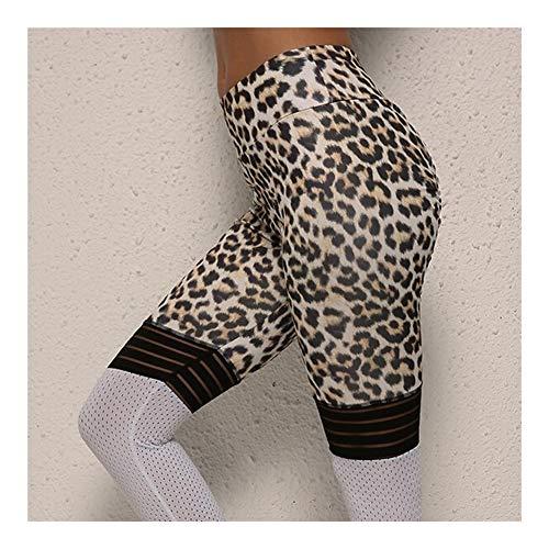 Gamaschen Qualitäts-Frauen-Leopard-Druck-Gamaschen Kein Transparent Hohe Knie-Streifen Patchwork Push Up Workout Legging Elastische Hose (Color : Leopard (White), Size : L)