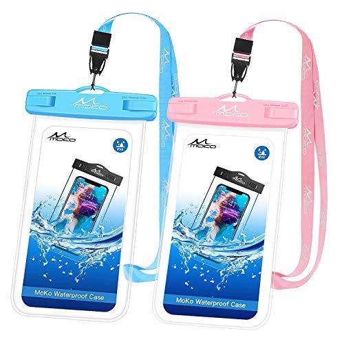 MoKo Funda Impermeable para teléfono [2 Unidades], Funda submarina para teléfono con cordón Compatible con iPhone